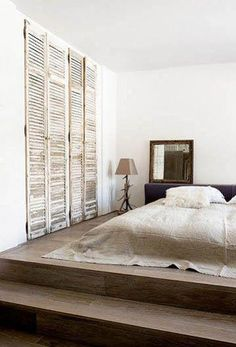 """Furniture 555490935260629394 - I have always envisioned a """"sleeping room"""" with soft upholstered platforms, tiny bedside tables, & adjustable lighting. No other furniture at all. [ it'll never happen-lol ] Source by moiiza Wardrobe Doors, Closet Doors, Room Closet, Dream Bedroom, Home Bedroom, Bedroom Ideas, Linen Bedroom, Bed Ideas, Rustic Closet"""