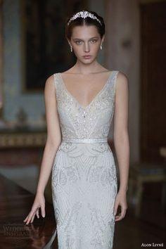 Alon Livne white 2015 bridal butterfly sleeveless embellished sheath wedding dress straps v neckline front.