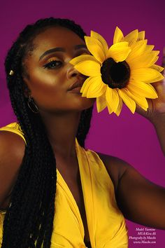 Black Girl Magic, Natural, Yellow, Melanin, Beautiful Melanin, Life, Free, Sunflower, Braids, Afrocentric, Photography by Mascko https://www.mascko.com/