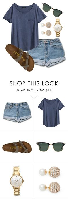 """""""""""We should love, not fall in love because everything that falls gets broken"""" - Taylor Swift"""" by morgan-deanna ❤ liked on Polyvore featuring H&M, Birkenstock, Ray-Ban, Kate Spade and Kenneth Jay Lane"""