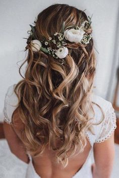 Wedding Hair Half Up Ideas ★ wedding hair half up curly textured loose curls on blonde hair with white roses and greenery msalishanycole