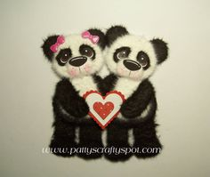 Valentine Love Panda's Tear Bear Embellishment by by babygirl24, $11.00