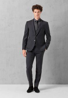 Driedelig kostuum Ario-Maze-SR, zwart met fijne krijtstrepen