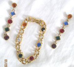 Vintage Link Bracelet / Dangle Earrings Set Gold Plated Multi-Color Rhinestones  #UnsignedBeauty
