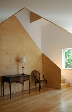 Ply lined walls and floor with white ceiling - adds warmth to this space. Plywood Wall Paneling, Plywood House, Beautiful Interior Design, Contemporary Interior, Home Interior Design, Stairs Architecture, Interior Architecture, Plywood Interior, Staircase Design