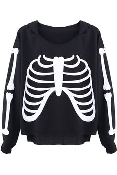 #romwe Bone Print Black Hoodie