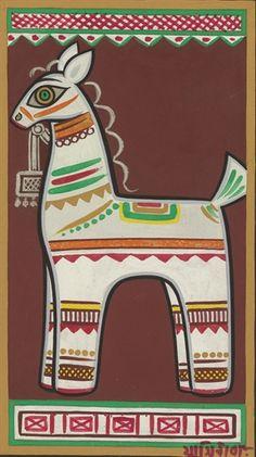 Jamini Roy - Untitled Madhubani Art, Madhubani Painting, Indian Folk Art, Indian Artist, Modern Art Paintings, Indian Paintings, Phad Painting, Jamini Roy, Indian Animals
