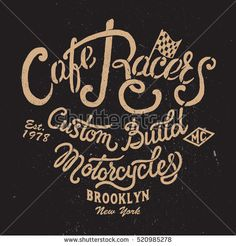 Cafe Racers hand drawing logo. Vintage typography art for tee shirt print,clothes,apparel.