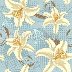 Lilien Fantasie designt von Natalia Patrashchuk. Nahtloses Musterdesign mit verstreuten Lilien und floralen Ornamenten im Vintage-Stil. Individuell einfärbbar in Deinen Wunschfarben. Erhältlich als Viskose- oder Baumwoll Jersey und Baumwollstoff.