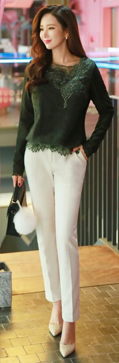 StyleOnme_Warm Winter Fleece-lined Slacks #elegant #white #pants #warm #wintertrend #koreanfashion #kstyle #seoul #dailylook