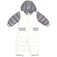 Moncler Nylon jumpsuit (€465) ❤ liked on Polyvore featuring jumpsuits, white, moncler, long sleeve jump suit, jump suit, white jumpsuit and long sleeve jumpsuit