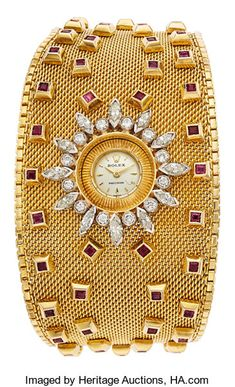 Diamond Watches Ideas : Estate Jewelry:Watches, Retro Rolex Lady's Diamond, Ruby, Gold Bracelet Watch - Watches Topia - Watches: Best Lists, Trends & the Latest Styles Sterling Silver Bracelets, Jewelry Bracelets, Jewelry Watches, Ankle Bracelets, Pearl Necklaces, Silver Jewelry, Ruby Bracelet, Bracelet Watch, Diamond Bracelets