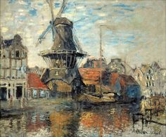 Claude Monet (French, Impressionism, 1840-1926): Windmill on the Onbekende Canal, Amsterdam (Le Moulin de l'Onbekende Gracht, Amsterdam), 1874. Oil on canvas. Museum of Fine Arts, Houston, Texas, USA.