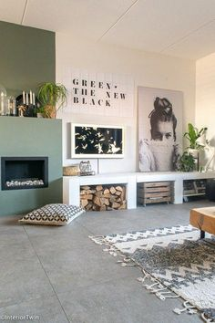 minimal decor – black, white, and green color pallet with giant artwork and samsung picture tv. minimal decor – black, white, and green color pallet with giant artwork and samsung picture tv. Interior Desing, Home Interior, Home Living Room, Interior Design Living Room, Living Room Designs, Living Room Decor, Bedroom Decor, Kitchen Interior, Bedroom Furniture
