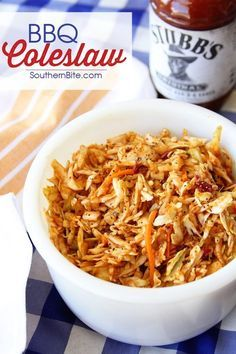 Coleslaw Give your taste buds a kick with this BBQ Coleslaw - it has tangy bbq sauce as the base for the dressing!Give your taste buds a kick with this BBQ Coleslaw - it has tangy bbq sauce as the base for the dressing! Side Dishes Easy, Side Dish Recipes, Rib Recipes, Easy Recipes, Supper Recipes, Soup And Salad, Taste Buds, Cooking Recipes, Favorite Recipes