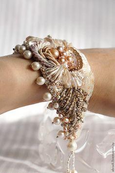 Darling Make Alphabet Friendship Bracelets Ideas. Wonderful Make Alphabet Friendship Bracelets Ideas. Fabric Bracelets, Lace Bracelet, Embroidery Bracelets, Bead Embroidery Jewelry, Textile Jewelry, Fabric Jewelry, Beaded Embroidery, Beaded Bracelets, Ribbon Jewelry