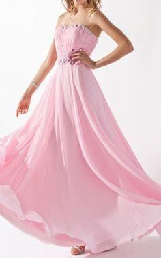 Blushing Pink A Line Princess Sweetheart Floor Length Chiffon Evening Dress Ruffle Beading Harry Dress HD5597