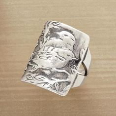 Sterling Silver Lovebirds Ring.