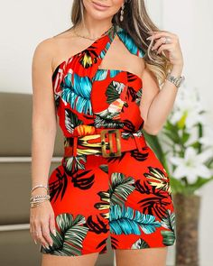 One Shoulder Tropical Print Casual Romper - Chic Dresses Trend Fashion, Look Fashion, Womens Fashion, Two Piece Rompers, Lace Romper, Romper Outfit, Playsuit Romper, Chor, Jumpsuits For Women