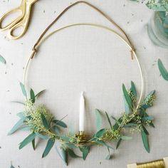 A eucalyptus candle wreath to light dark December nights.