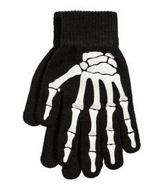 Gloves with Printed Design | Black/skeleton | Ladies | H&M US