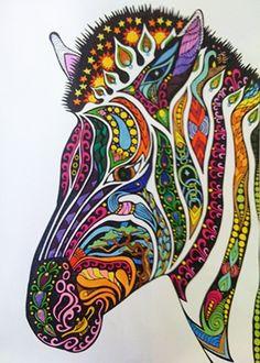 een kleurijke zebra