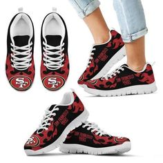 a111776c Tribal Flames Pattern San Francisco 49ers Sneakers - YourCoolColor