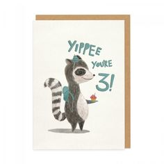 3rd Birthday Racoon Greeting Card | Ohh Deer