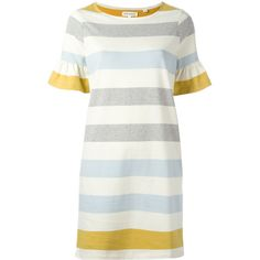 Chinti And Parker flared sleeve shift dress (£190) ❤ liked on Polyvore featuring dresses, colorful dresses, cotton shift dress, shift dress, chinti and parker and white cotton dress