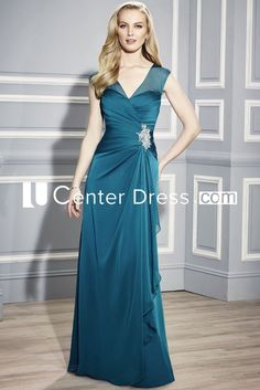 $129.99-Simple Sleeveless V-Neck Chiffon Green Long Mother Of The Bride Dress With Draping. http://www.ucenterdress.com/sleeveless-v-neck-chiffon-mother-of-the-bride-dress-with-draping-pMK_300229.html.  Tailor Made mother of the groom dress/ mother of the brides dress at #UcenterDress. We offer a amazing collection of 800+ Mother of the Groom dresses so you can look your best on your daughter's or son's special day. Low Prices, Free Shipping. #motherdress