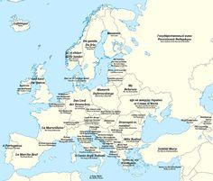 Название национального гимна каждой страны на карте Европы.