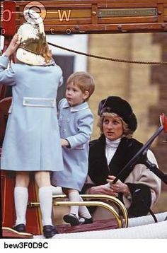 1/3/1988: Playtime on a firetruck, with Prince Harry & Diana, Princess of Wales (Sandringham, Norfolk)