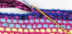 Crochet a rug, bag, cushion cover or table mats using t-shirt yarn. Recycle your t-shirts of buy t-shirt yarn. Attach it using cotton yarn for a colourful finish and easy singlecrochet stitches.