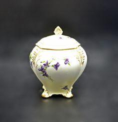 Antique Royal Crown Derby Tea Jar, 1800's Porcelain Canister Royal Crown Derby, Crown Royal, Tea Jar, Tea Caddy, Flowering Vines, Beige Color, Light Beige, Canisters, Purple Flowers