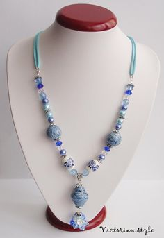 pearls, glass, ceramic and polymer clay beads necklace