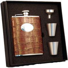 Visol Brown Crocodile Supreme Flask Gift Set - 6 ounces
