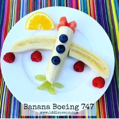 Banana Boeing 747 A healthy & easy fruity snack idea for a little aeroplane fan. Assembled in under 3 minutes it's a great mealtime activity too. other fun food inspirations & instructions in bio & below #toddlerfood #family #instahappy #foodstagram #foodart #kidsfood #healthykids #pickyeater #pickyeaters #fussyeater #fussyeaters #iddlepeeps #funwithfood #food #foodart #foodstagram #kids #kidsnutrition #allergyfriendly #allergykids