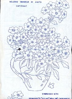 Vase of Flowers ~ Vintage Weldons 1930s/40s Iron-on Embroidery Transfer ~ 269 uk.picclick.com