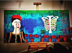 Frida. Frida portrait, abstract acrylic on canvas 24x48 by MoBaStudios on Etsy