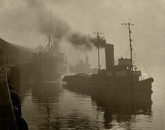 """""""Morning Departure in to the mist"""" Quayside, Newcastle Upon Tyne - Harry Morrison Collection - Photography - Amber Online. Newcastle Quayside, Grey Wallpaper Iphone, Barrow In Furness, Photographs And Memories, Collections Photography, Industrial Photography, Tug Boats, Old Photos, Mists"""
