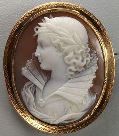 1860 Renaissance Queen Sardonyx Shell Cameo Brooch, France.