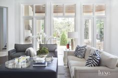 Contemporary White Family Room Seating Area