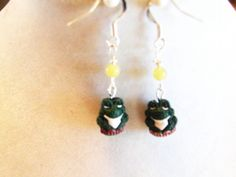 Frog Dangle Earrings, 3D Frog Earrings, Gemstone Jewelry, Reptile Jewelry, Green Jewelry, Gifts for Her by TerriJeansAdornments on Etsy