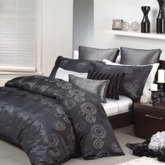 Queen Size Bed Doona Duvet Quilt Cover Set APOLLO BLACK By Logan & Mason 3pc NEW