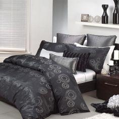 Queen Size Bed Doona Duvet Quilt Cover Set APOLLO BLACK By Logan & Mason 3pc NEW