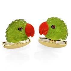 Vibrant Parrot Head Cufflinks With Carefully HandCarved Peridot A Bright Red Coral Beak And HandPainted Eyes Fitting Is Solid Gold Handmade In Scully And Scully, Hand Carved, Hand Painted, Red Coral, Yoshi, 18k Gold, Cufflinks, Vibrant, Carving
