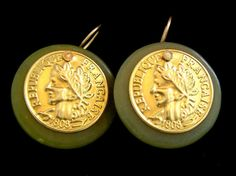 Domed Jade and Coin Earrings Brass Olive Green by pinkowljewelry