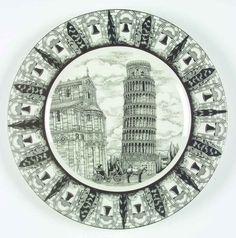 222 Fifth SLICE OF LIFE Tower Of Pisa Dinner Plate 5932469 #222Fifth
