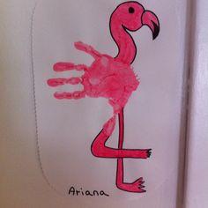 Fabulous Flamingo handprint craft for pre-schoolers.