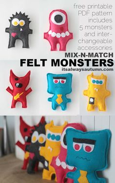 free easy sewing pattern for felt monster dolls – Sewing Projects Love Sewing, Sewing For Kids, Sewing Class, Sewing Hacks, Sewing Tutorials, Sewing Tips, Sewing Ideas, Sewing Designs, Clay Tutorials